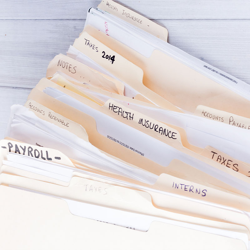 bookkeeping services, file folders